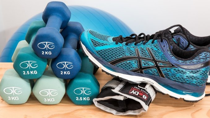 Dumbbells and Shoes for weight loss